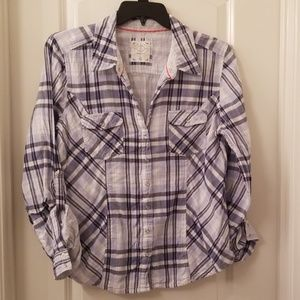 Style & Co Blue Plaid Button up